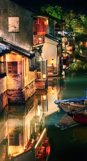 night view of illuminated Zhouzhuang water town, Jiangsu, China